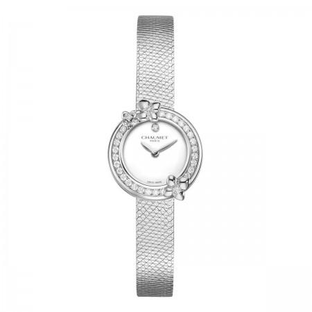 """Montre Hortensia """"Eden""""-LAQUE BLANC-Cadran Diamant"""