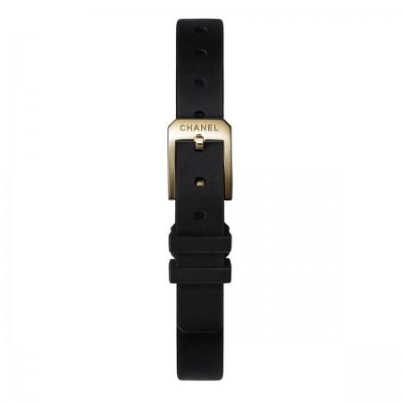 Montre PREMIÈRE Velours - Or jaune et titane, bracelet en caoutchouc noir toucher velours, cadran laqué noir