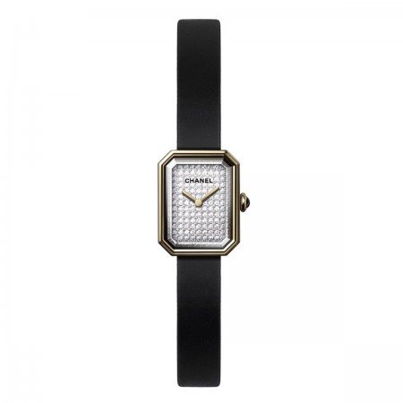 Montre PREMIÈRE Velours - Or jaune et titane, bracelet en caoutchouc noir toucher velours - CHANEL