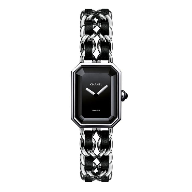 Montre Première Rock - Acier et cuir noir, cadran noir - CHANEL - Vue par défaut - voir la version taille réelle