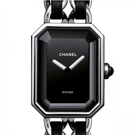 Montre Première Rock - Acier et cuir noir, cadran noir - CHANEL - Vue par défaut - voir la version taille standard