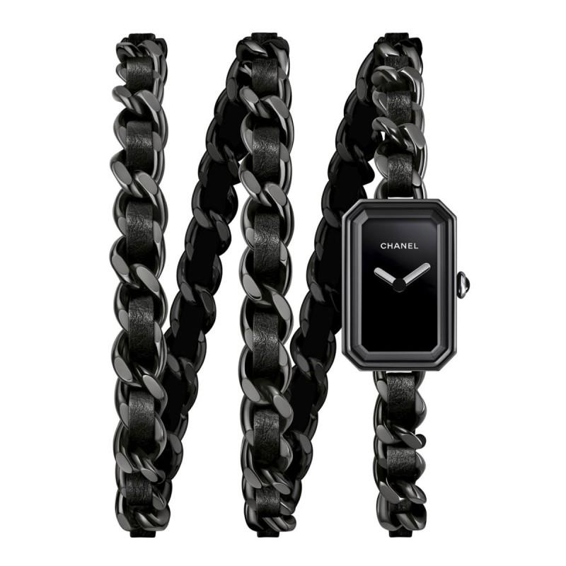Montre Première Rock - Triple tour en acier avec revêtement noit et cuir noir, cadran laqué noir - CHANEL - Vue par défaut