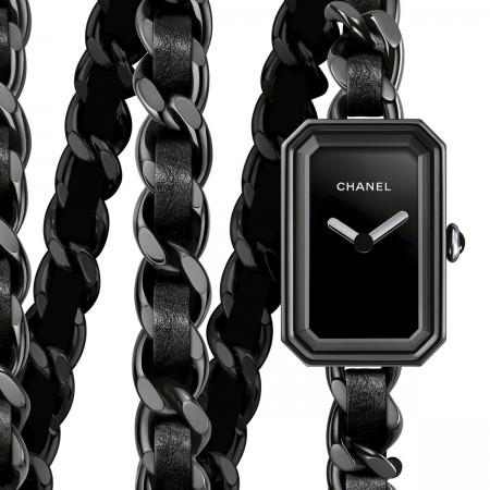 Montre Première Rock - Triple tour en acier avec revêtement noit et cuir noir, cadran laqué noir - CHANEL
