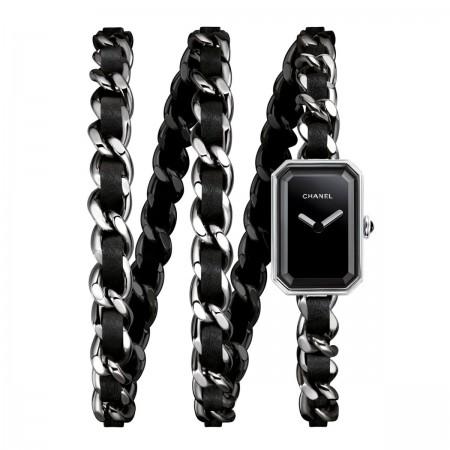 Montre Première Rock - Triple tour en acier et cuir noir, cadran noir - CHANEL - Vue par défaut - voir la version taille réelle