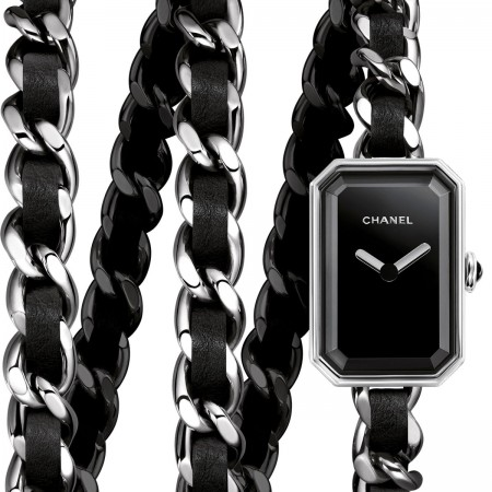 Montre Première Rock - Triple tour en acier et cuir noir, cadran noir - CHANEL - voir la version taille standard