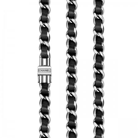 Montre Première Rock - Triple tour en acier et cuir noir, cadran noir - CHANEL - Vue de profil
