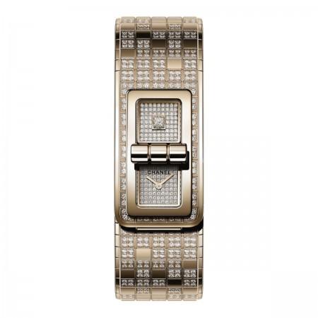 Montre CODE COCO PIXEL - OR BEIGE et diamants - CHANEL - Vue par défaut - voir la version taille réelle