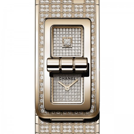 Montre CODE COCO PIXEL - OR BEIGE et diamants - CHANEL - Vue par défaut - voir la version taille standard