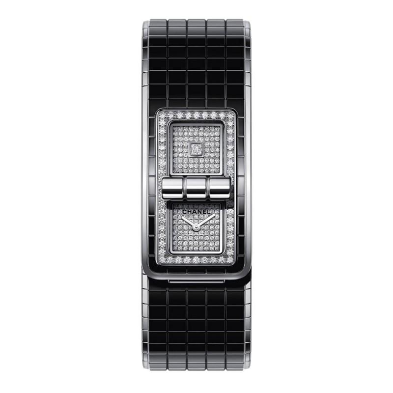 Montre CODE COCO - Acier, céramique haute résistance et diamants - CHANEL - Vue par défaut - voir la version taille réelle