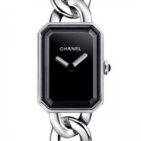 Montre Première Chaîne - Petit modèle, acier, cadran noir - CHANEL - Vue par défaut - voir la version taille standard