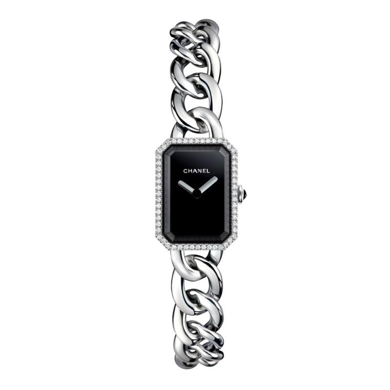 Montre Première Chaîne - Petit modèle, acier et diamants, cadran noir - CHANEL - Vue par défaut - voir la version taille réelle