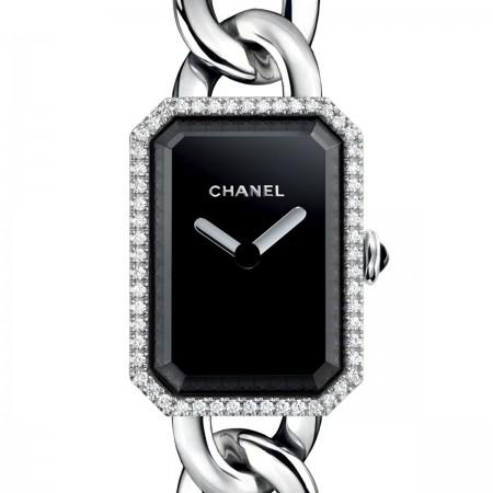 Montre Première Chaîne - Petit modèle, acier et diamants, cadran noir - CHANEL