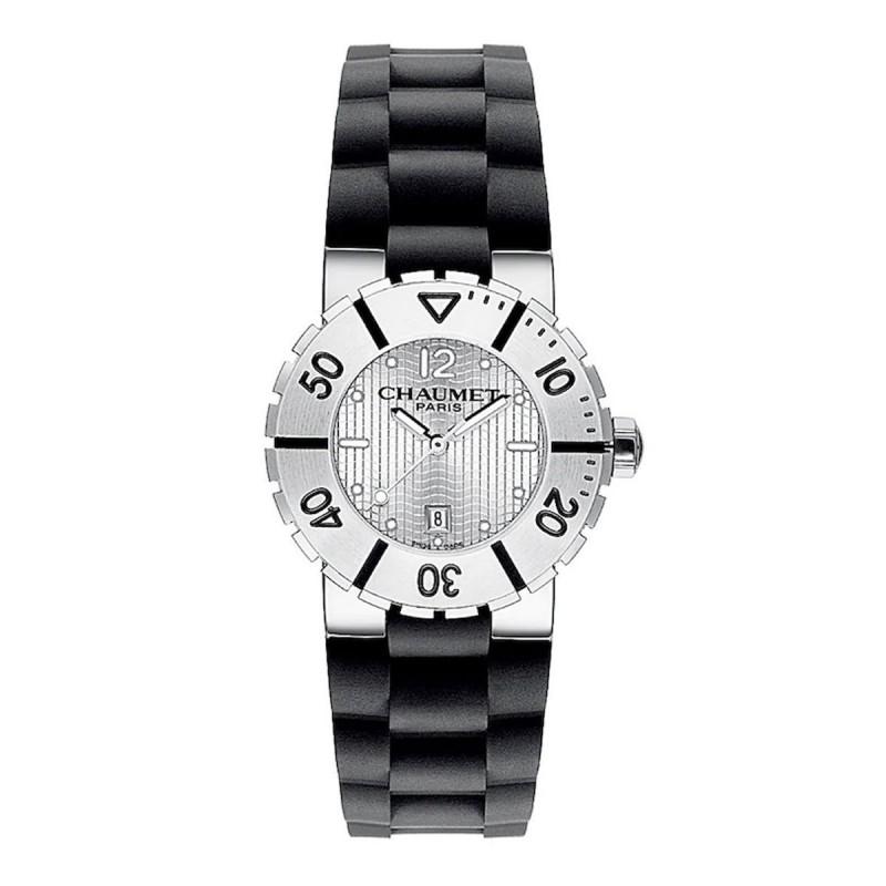 MONTRE CLASS ONE MOYEN MODÈLE - cadran laqué blanc - tour d'heures azuré - Bracelet en tissu technique noir - CHAUMET