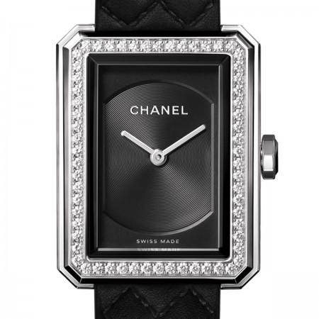 Montre BOY·FRIEND - Petit modèle, acier et diamants, bracelet en veau motif matelassé - CHANEL