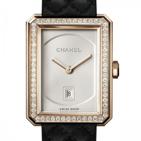 Montre BOY·FRIEND - Moyen modèle, OR BEIGE et diamants, bracelet en veau motif matelassé - CHANEL
