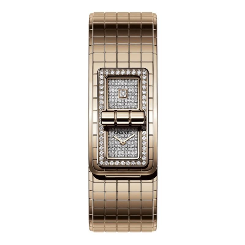 Montre CODE COCO - OR BEIGE et diamants - CHANEL - Vue par défaut - voir la version taille réelle