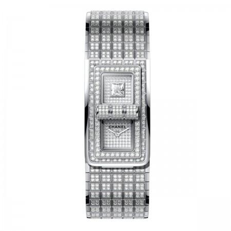 MONTRE CODE COCO - Or blanc 18 carats serti de diamants taille brillant - CHANEL - voir la version taille réelle