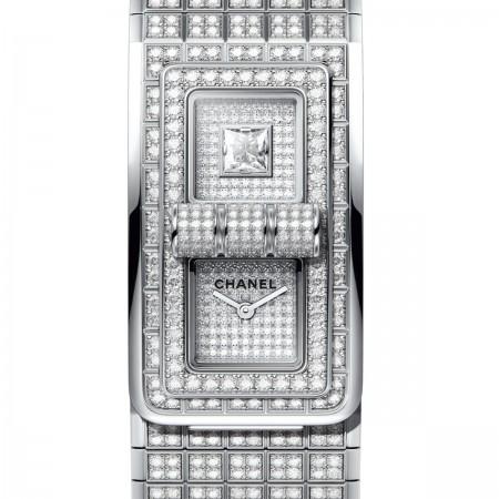 MONTRE CODE COCO - Or blanc 18 carats serti de diamants taille brillant - CHANEL