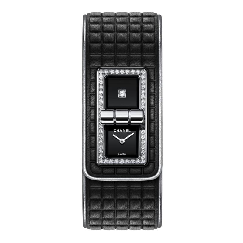 Montre CODE COCO cuir - Cuir de veau noir, acier et diamants - CHANEL - Vue par défaut - voir la version taille réelle