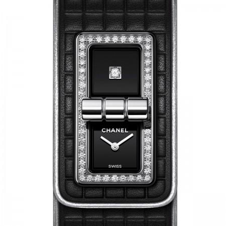 Montre CODE COCO cuir - Cuir de veau noir, acier et diamants - CHANEL - Vue par défaut
