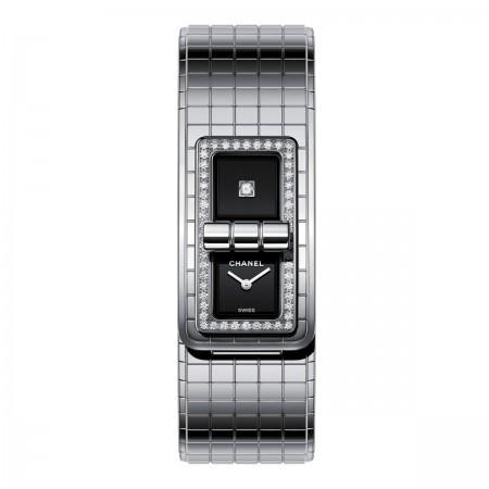 Montre CODE COCO - Acier serti de diamants - CHANEL - Vue par défaut - voir la version taille réelle